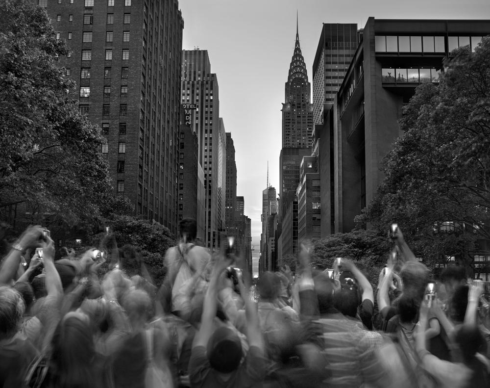 "Matthew Pillsbury<br /> <em>Manhattanhenge, Wednesday, May 29, 2013</em><br /> Archival pigment ink prints<br /> 20 x 24"" Edition of 10<br /> 30 x 40"" Edition of 6 (plus 2 APs)<br /> 50 x 60"" Edition of 2 (plus 1 AP)"