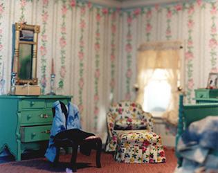 Corinne Botz Striped Bedroom
